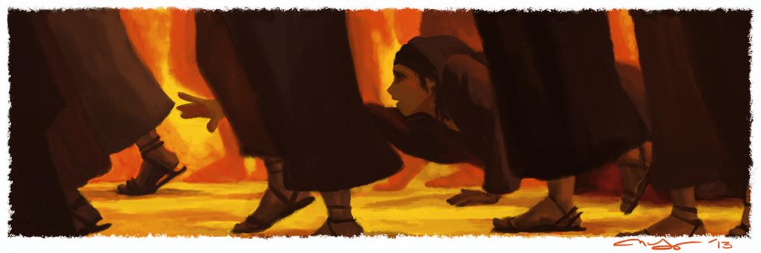 Woman reaching for Jesus' cloak | © 2015 NatMadeSomething.com