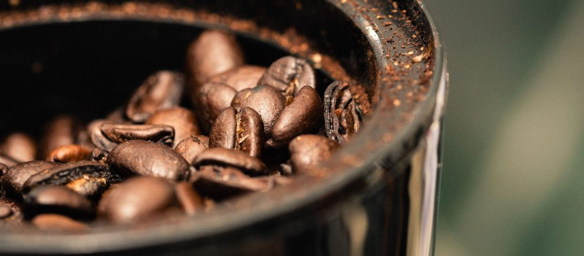 coffee beans in black container